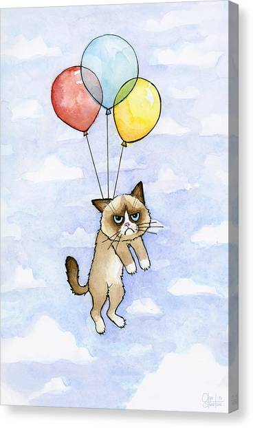 Cat Canvas Print - Grumpy Cat And Balloons by Olga Shvartsur