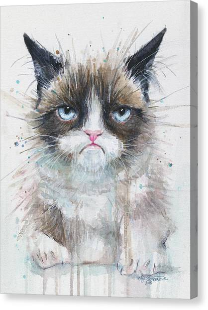 Kitty Canvas Print - Grumpy Cat Watercolor Painting  by Olga Shvartsur