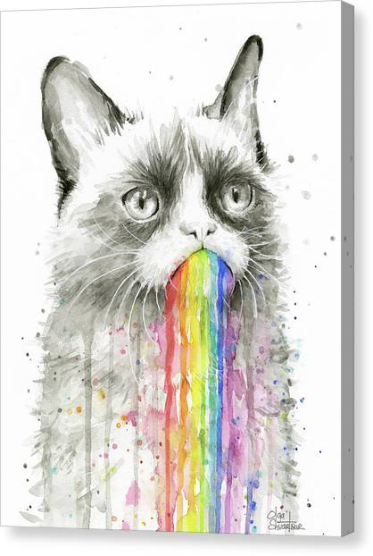 Rainbows Canvas Print - Grumpy Rainbow Cat by Olga Shvartsur