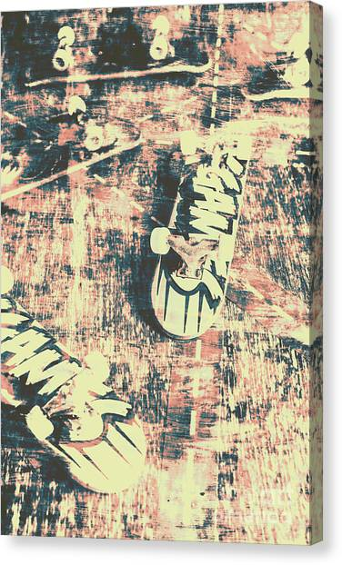 Skating Canvas Print - Grunge Skateboard Poster Art by Jorgo Photography - Wall Art Gallery