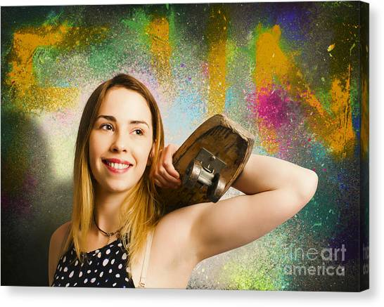 Skateboarding Canvas Print - Grunge Skateboarding Girl On Graffiti Wall by Jorgo Photography - Wall Art Gallery