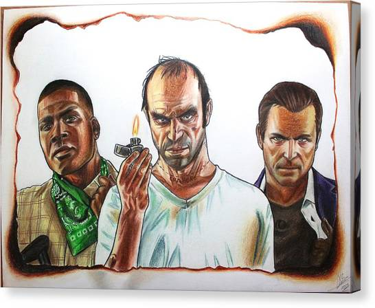 Grand Theft Auto Canvas Print - Gta 5 Characters Drawing by Nikolai Jonasson
