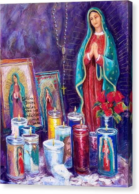 Rosary Canvas Print - Guadalupe Y Las Velas Candles by Candy Mayer