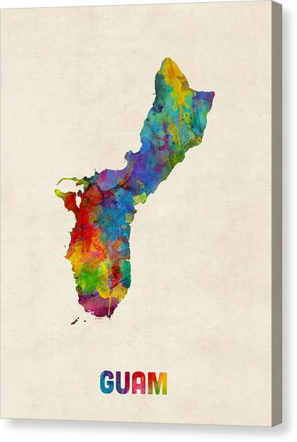 Urban Art Canvas Print - Guam Watercolor Map by Michael Tompsett