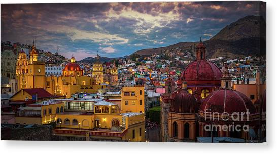 Guanajuato Canvas Print - Guanajuato Evening Panorama by Inge Johnsson