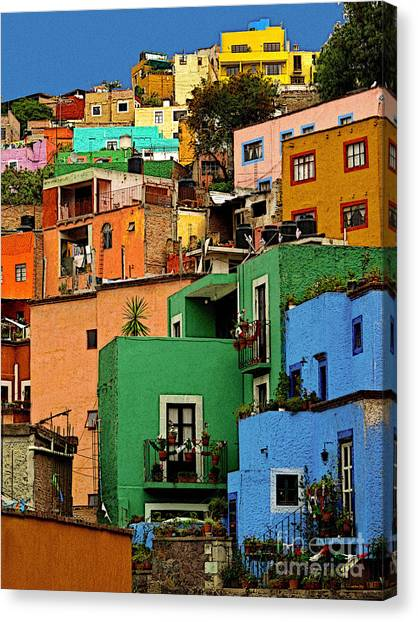 Guanajuato Hillside 2 Canvas Print by Mexicolors Art Photography