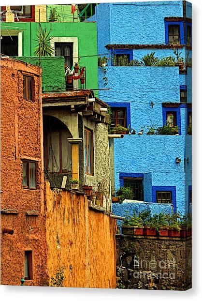 Guanajuato Hillside 3 Canvas Print by Mexicolors Art Photography