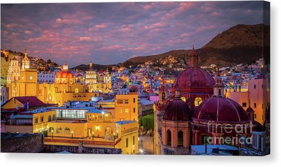 Guanajuato Canvas Print - Guanajuato Twilight Panorama by Inge Johnsson