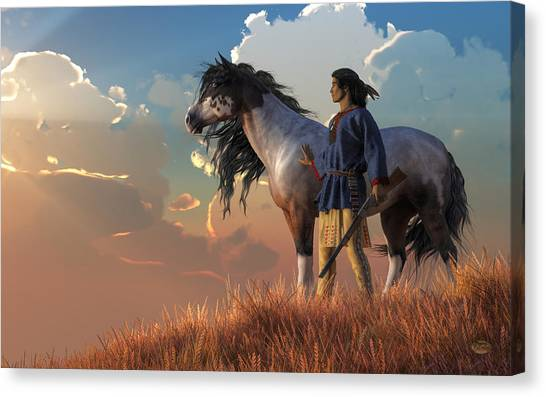 Canvas Print featuring the digital art Guardians Of The Plains by Daniel Eskridge