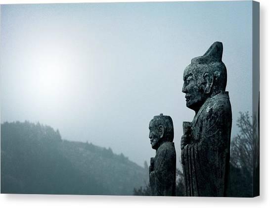 Wu Tang Canvas Print - Guardians On The Spirit Path. Qianling, China by David Lyons