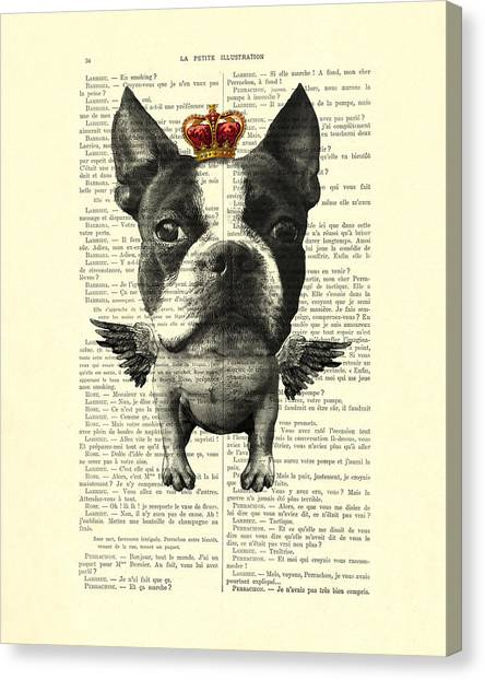 Media Canvas Print - Boston Terrier With Wings And Red Crown Vintage Illustration Collage by Madame Memento