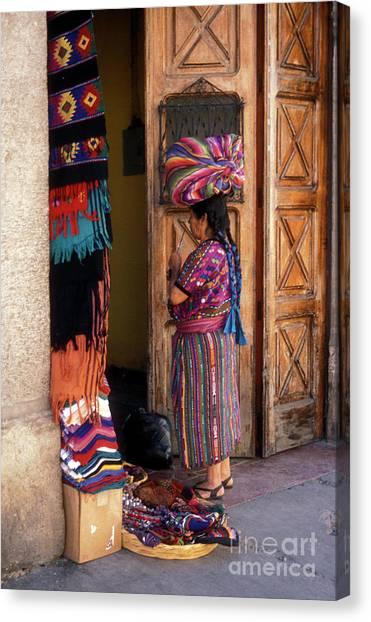 Guatemala Maya Textile Vendor Canvas Print