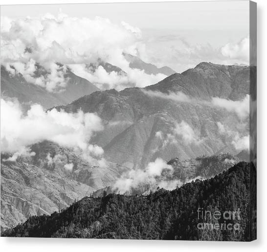 Canvas Print featuring the photograph Guatemala Mountain Landscape Black And White by Tim Hester