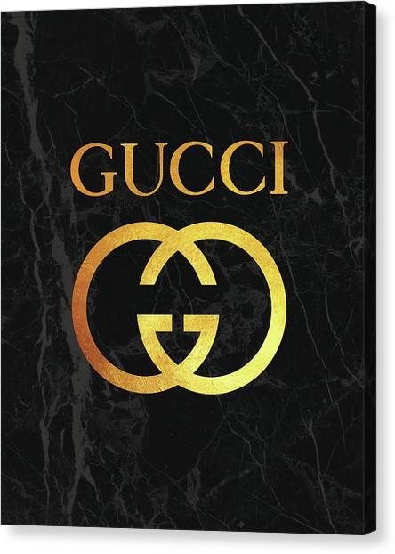 Logo Canvas Print - Gucci - Black And Gold - Lifestyle And Fashion by TUSCAN Afternoon