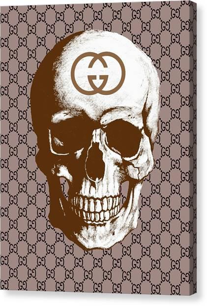 Logo Canvas Print - Gucci Poster Gucci Print Gucci Skull Brown Print by Del Art