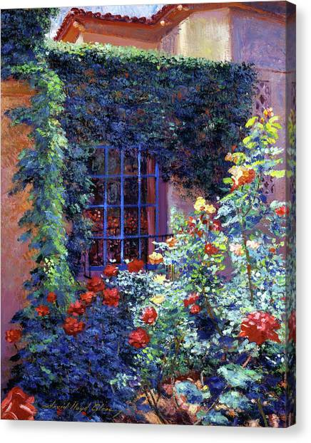 Beverly Hills Canvas Print - Guesthouse Rose Garden by David Lloyd Glover