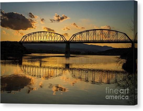 Guffey Bridge At Sunset Idaho Journey Landscape Photography By Kaylyn Franks Canvas Print