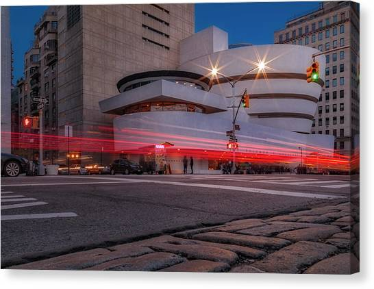 Canvas Print featuring the photograph Guggenheim Museum Nyc  by Susan Candelario