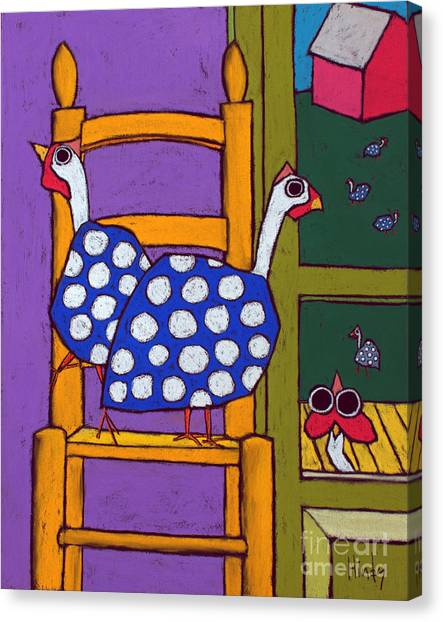 Fowl Canvas Print - Guinea In The Chair by David Hinds