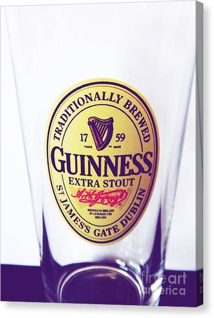 Pint Glass Canvas Print - Guinness Extra Stout by Jennifer Boisvert