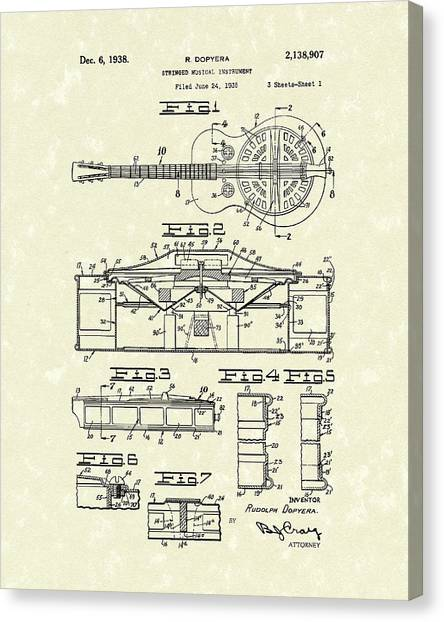Stringed Instruments Canvas Print - Guitar 1938 Patent Art by Prior Art Design