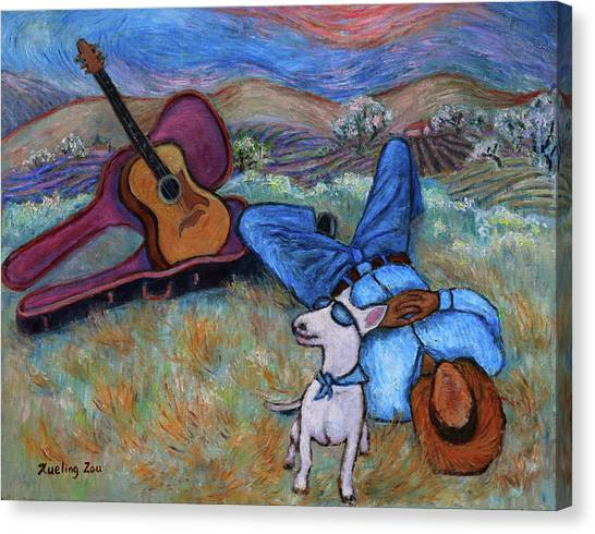 Contemporary Cowboy Art Canvas Print - Guitar Doggy And Me In Wine Country by Xueling Zou