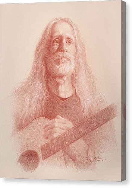 Long Hair Canvas Print - Guitar Hank by Todd Baxter
