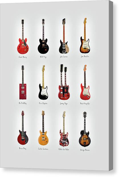 Jimi Hendrix Canvas Print - Guitar Icons No1 by Mark Rogan