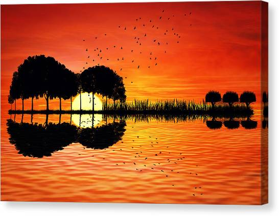 Classical Guitars Canvas Print - Guitar Island Sunset by Psycho Shadow