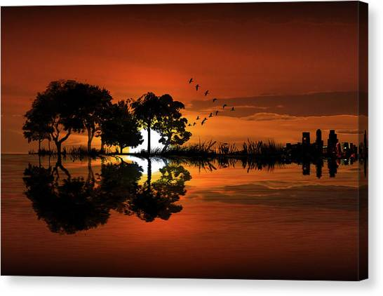 Guitar Landscape At Sunset Canvas Print