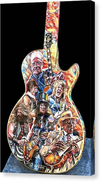 Guitar Legends Picking A Gibson Canvas Print