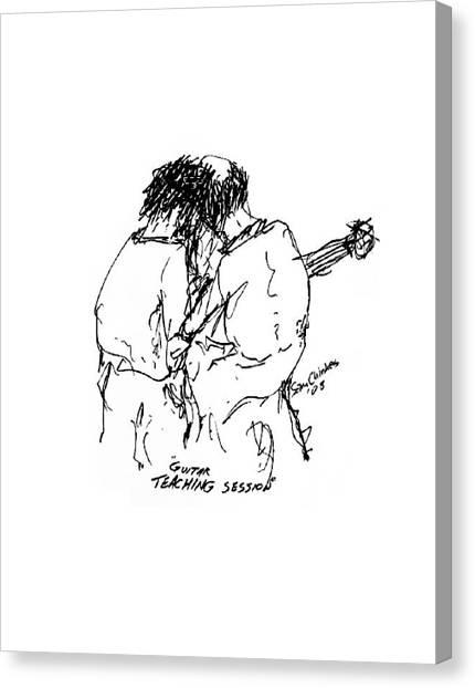 Guitar Lesson Canvas Print by Sam Chinkes