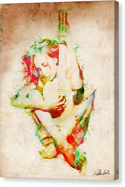 Electric Guitars Canvas Print - Guitar Lovers Embrace by Nikki Smith