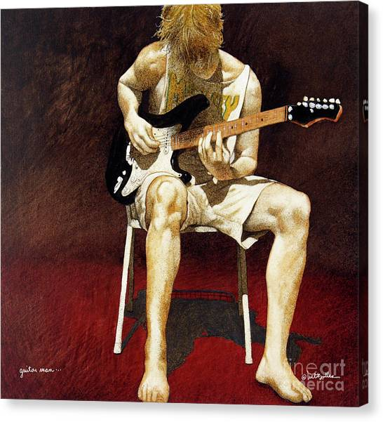 Guitars Canvas Print - Guitar Man... by Will Bullas