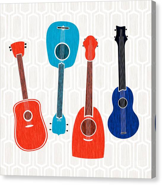 Ukuleles Canvas Print - Guitar Party  by Kristian Gallagher
