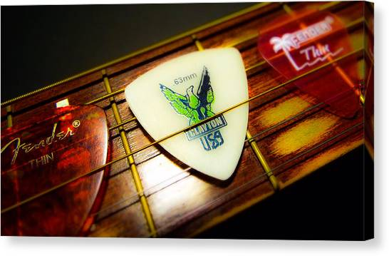 Guitar Picks Canvas Print - Guitar Picks by KaFra Art