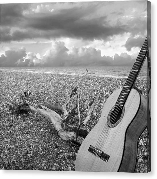 Classical Guitars Canvas Print - Guitar Serenade On The Beach Black And White by Gill Billington