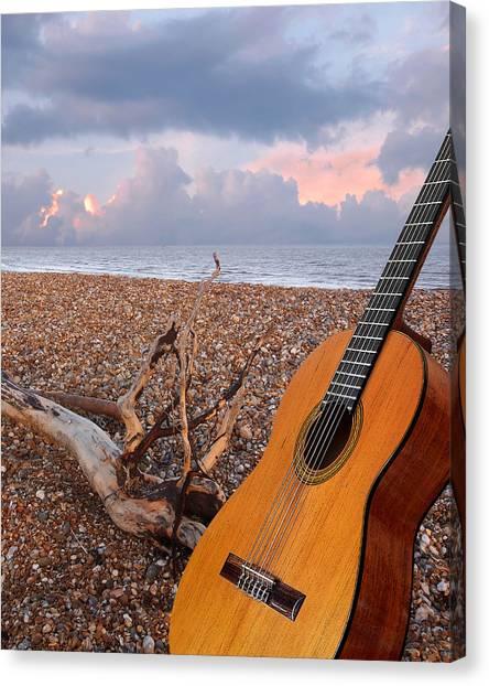 Classical Guitars Canvas Print - Guitar Serenade On The Beach by Gill Billington