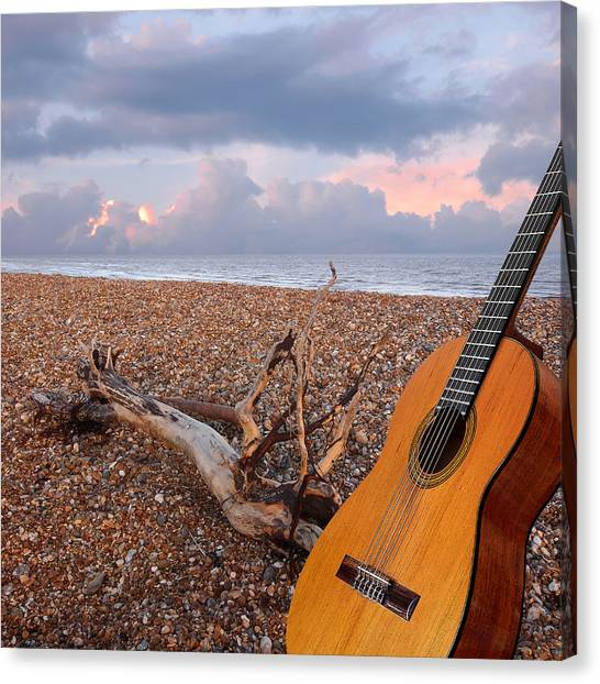 Classical Guitars Canvas Print - Guitar Serenade On The Beach Square by Gill Billington