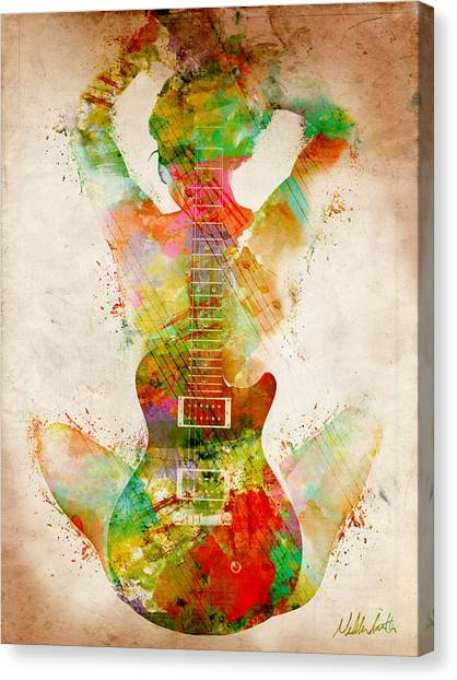 Nude Canvas Print - Guitar Siren by Nikki Smith