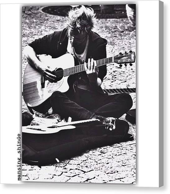 Trucks Canvas Print - Guitarist At Pompidou Centre Paris by Indian Truck Driver