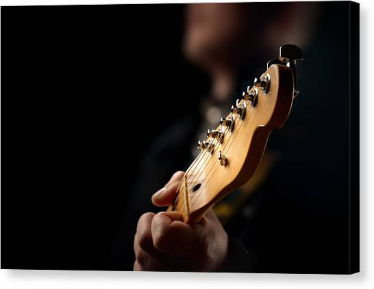 Electric Guitars Canvas Print - Guitarist Close-up by Johan Swanepoel