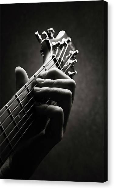 Electric Guitars Canvas Print - Guitarist Hand Close-up by Johan Swanepoel