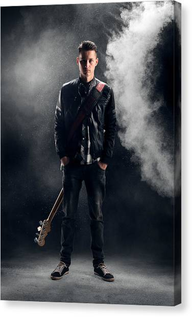 Shoulders Canvas Print - Guitarist by Johan Swanepoel
