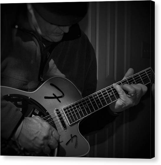 Slide Guitars Canvas Print - Guitarist by Robert Lowe
