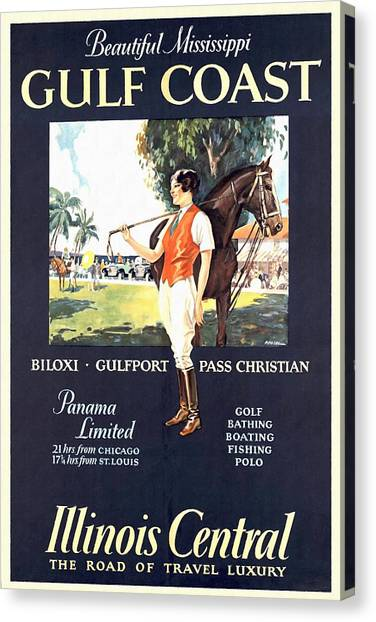 Gulf Coast - Illinois Central - Vintage Poster Restored Canvas Print