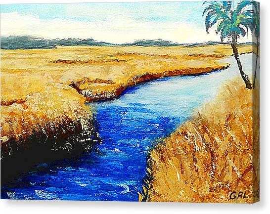 Canvas Print featuring the painting Gulf Coast Marsh II Detail Original Fine Art Painting by G Linsenmayer