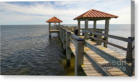 Canvas Print featuring the photograph Gulf Coast Pier by Ron Sadlier
