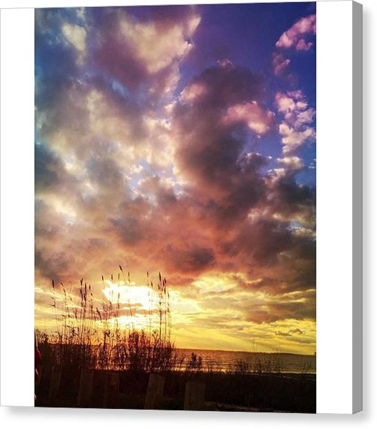 Sunsets Canvas Print - Gulf Coast Sunset #clouds #sunset by Joan McCool