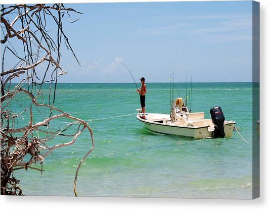 Gulf Fisherman Canvas Print by Steven Scott